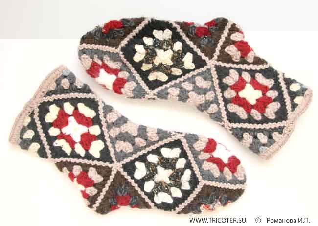 вязание носков крючком из квадратов